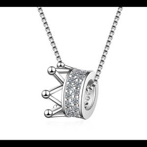 925 Sterling Silver CZ Crown Necklace